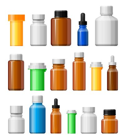 icon collection: Medicine bottles set. Empty bottles for drugs, tablets, capsules. Pharmaceutic containers isolated on white background