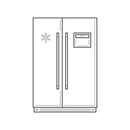 vertical fridge: Empty vertical fridge with two front panels for cooling drinks and products. Fridge isolated thin line vector Illustration. Vector kitchen appliance icon