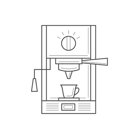 drink coffee: Coffee making equipment. Thin line design vector icon. Vector kitchen icon isolated on white background.