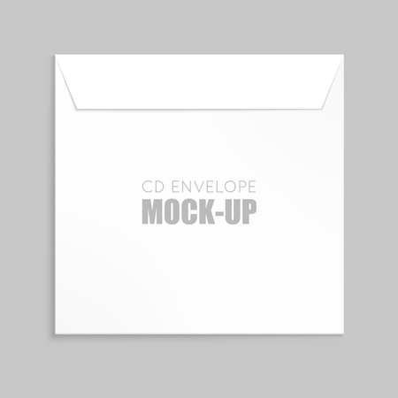 cd case: White  cover for compact disc mock up template. White envelope vector illustration