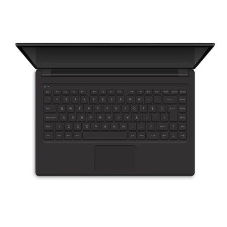 Open Modern Laptop, Top View Vector Illustration. Realistic Computer Notebook illustration Vettoriali
