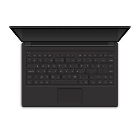 Open Modern Laptop, Top View Vector Illustration. Realistic Computer Notebook illustration Stock fotó - 55635241
