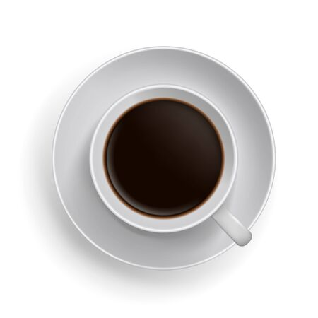 caffe: Cup of black coffee. Realistic topview vector