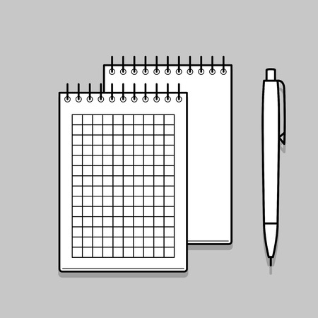 spiral notebook: Two spiral notebook and white ballpoint Pen. Thin line vector illustration