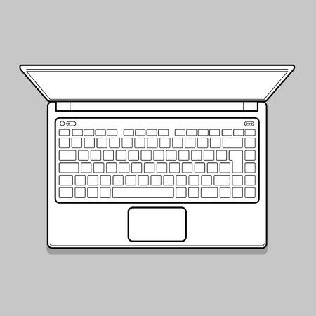 open notebook: Open Modern Laptop, Top View Vector Illustration. Thin line Computer Notebook illustration Illustration