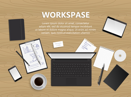 workspace: Realistic vector design illustration of modern business office and workspace. Top view of desk background. Workspace illustration.