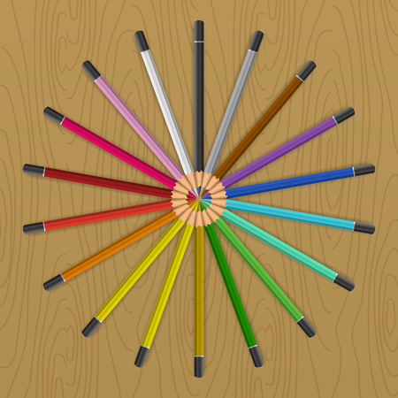 color fan: Colored pencils that form a rainbow colored color fan circle. Vector illustration on the table. Illustration