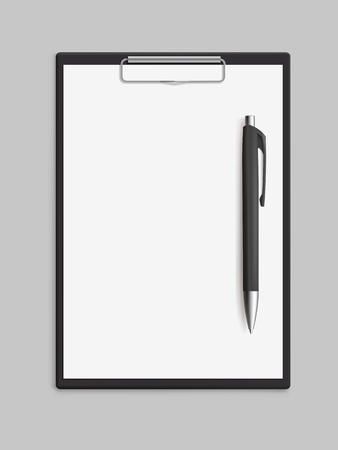 Empty blank clipboard with pen on gray background. Realistic vector illustration.