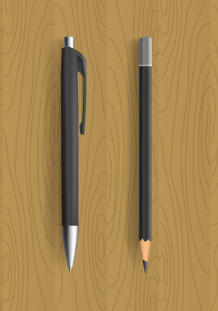 pensil: Black pencil and pen on wooden table. Vector illustration. Pensil and pen realistic for idetity design.