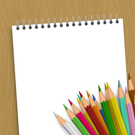 school work: Background with color pencils. Empty notebook with color pencil on the table
