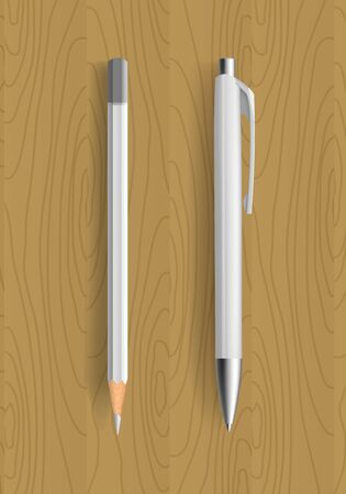 pensil: white pencil and pen on wooden table. Vector illustration. Pensil and pen realistic for idetity design. Illustration