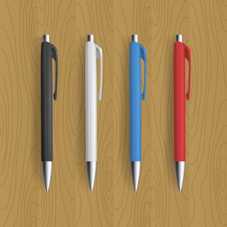 ball pens stationery: Cuatro lápiz realista para el diseño de la identidad en el fondo de madera. Vector la ilustración del modelo.