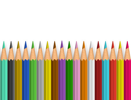 red pencil: Background with color pencils. Vector color illustration