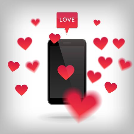 speach: Realistic phone with hearts around and speach bubble with Love. Valentine and Love concept. Realistic vector illustration