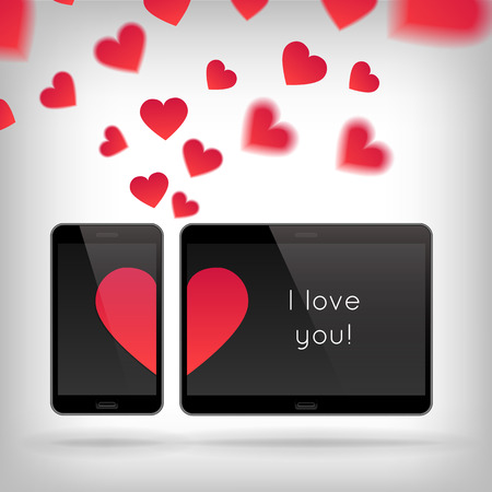 scattering: Love on Gadget. Vector illustration of smart phone and tablet. Happy Valentines Day on Mobile and Tablet. Phone and tablet screen with Hearts. Scattering hearts on background Illustration