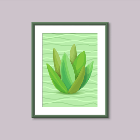 wall decor: Art painting with succulent in frame on gray background. Template design for web and mobile. Vector vintage illustration concept Illustration