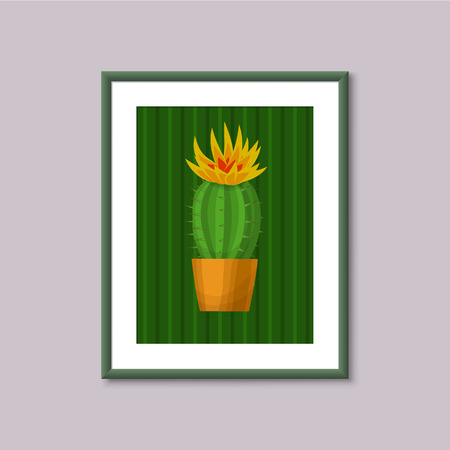 art painting: Art painting with Cactus in frame on gray background Illustration