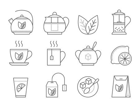black tea: Tea icon set. Thin line vector illustration. Black tea icon on white background