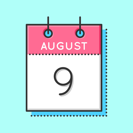 9th: Vector Calendar Icon. Flat and thin line vector illustration. Calendar sheet on light blue background. August 9th Illustration