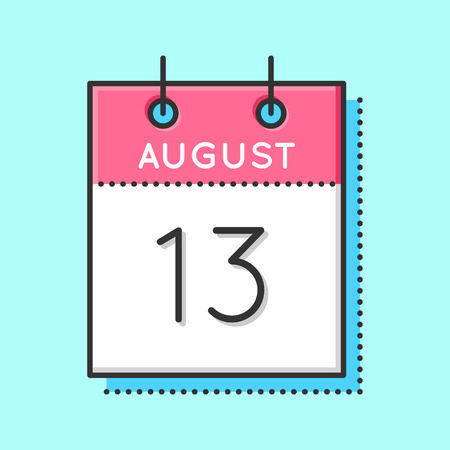 13th: Vector Calendar Icon. Flat and thin line vector illustration. Calendar sheet on light blue background. August 13th