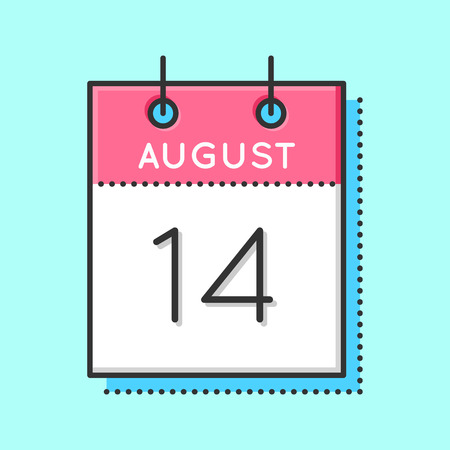 14th: Vector Calendar Icon. Flat and thin line vector illustration. Calendar sheet on light blue background. August 14th Illustration