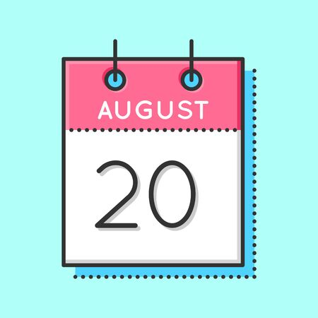 20th: Vector Calendar Icon. Flat and thin line vector illustration. Calendar sheet on light blue background. August 20th