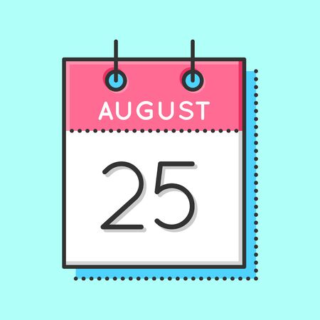 25th: Vector Calendar Icon. Flat and thin line vector illustration. Calendar sheet on light blue background. August 25th Illustration