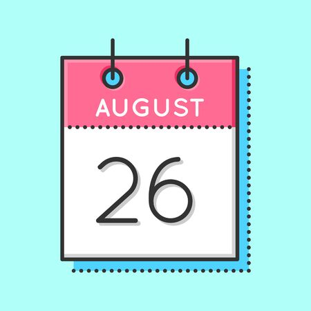 26th: Vector Calendar Icon. Flat and thin line vector illustration. Calendar sheet on light blue background. August 26th