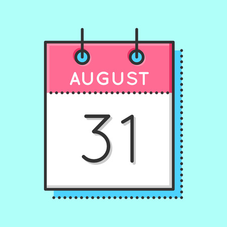 31th: Vector Calendar Icon. Flat and thin line vector illustration. Calendar sheet on light blue background. August 31th