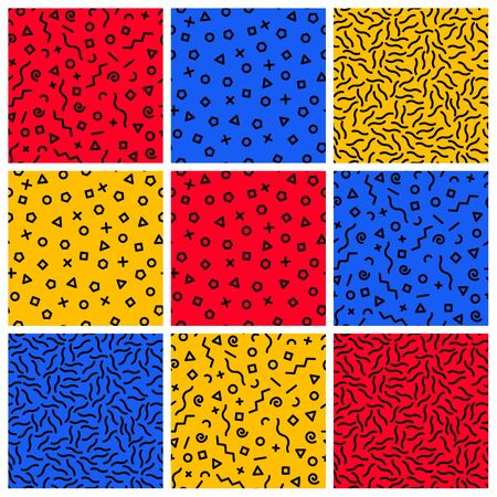 memphis: Set of seamless abstract geometric pattern in Memphis style, fashion 80-90s. Geometric pattern with geometric elements Illustration