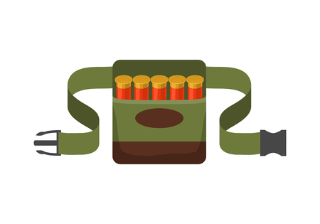 Bandolier on the belt for hunter. Flat vector illustration Иллюстрация