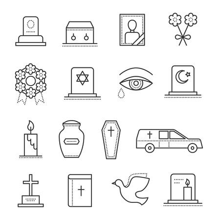 Funeral icona linea sottile. Insieme dell'oggetto funerale