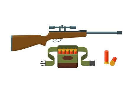 shotgun: Shotgun, shells and bandoliers with shells vector illustration