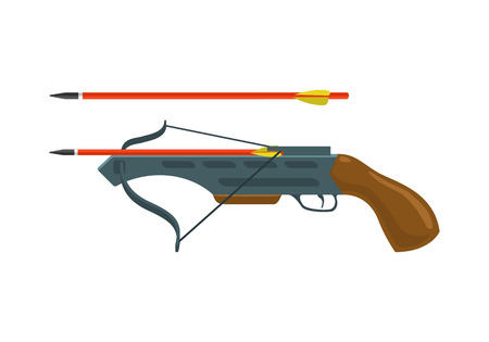 crossbow: Crossbow with arrow. Arbalest vector illustration isolated on white background