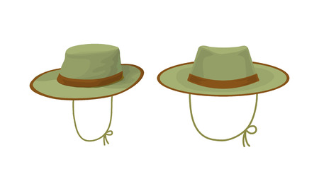 Two hunter hat. Hunting equipment. Vector illustration Illustration