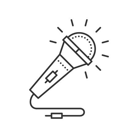 mike: Microphone thin line icon. Mike for Karaoke, vocal. Vector illustration