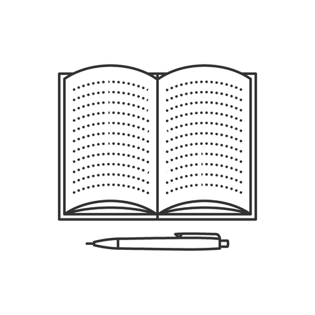 open notebook: Open notebook with lined pages and pen. Thin line vector illustration. Education icon