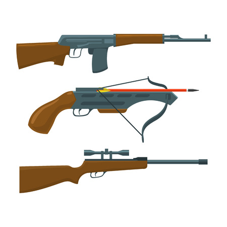 crossbow: Rifle, submachine gun and crossbow vector illustration. Hunter and military set