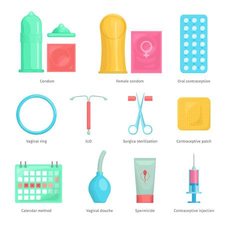 Contraception Methoden Cartoon-Symbole mit Kalender Injektion und orale Kontrazeption Symbole gesetzt. Geburtenkontrolle Vektor-Illustration. Vektorgrafik