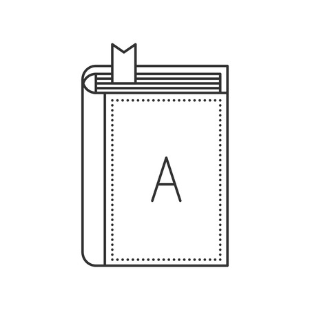 closed book: Thin line book icon. Closed book with bookmark and with letter A on the cover