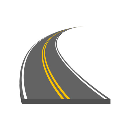 Road vector illustration. Curved highway with markings. Illustration