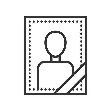 deceased: Portrait of a deceased person. Thin line funeral icon Illustration