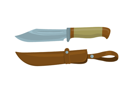 sheath: Military knife with leather sheath on white background. Knife and scabbard for hunter. Cartoon vector illustration