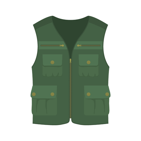 fisher: Hunting vest. Cartoon vector illustration. Vest for hanter or fisher.
