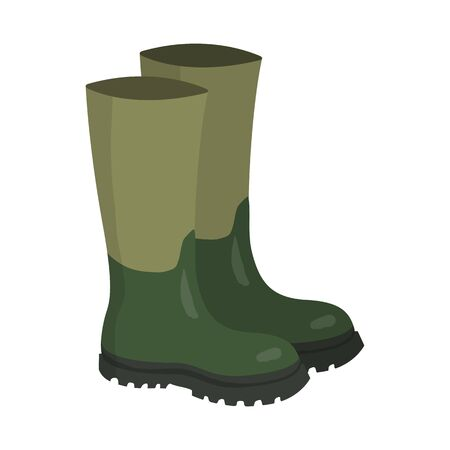 Pair of green rubber hunters and fisherman high boots. Cartoon vector illustration.