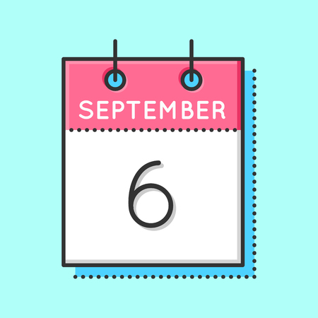 6th: Vector Calendar Icon. Flat and thin line vector illustration. Calendar sheet on light blue background. September 6th