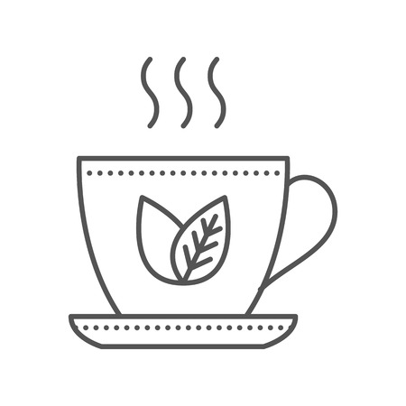 herbal background: Cup of green tea icon. Thin line vector illustration. Herbal tea icon on white background