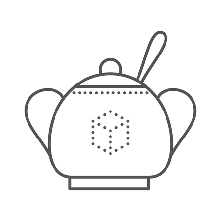 sugar spoon: Sugar bowl with spoon inside. Thin line vector illustration Illustration