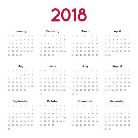 흰색 배경에 2018에 대 한 벡터 일정입니다. 주 일요일부터 시작됩니다. 간단한 디자인 템플릿입니다. 미니멀리즘 스타일 일러스트