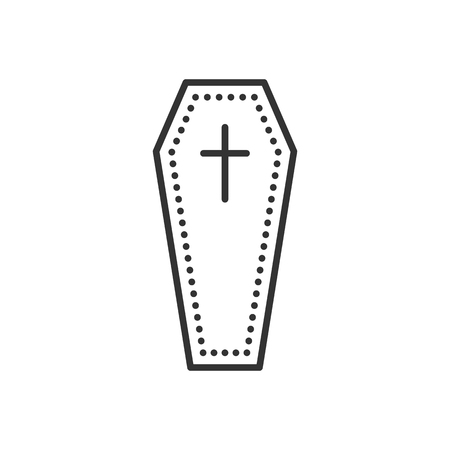 Coffin flat icon. Symbol of death and funeral. Vector outline illustration isolated on white background. Thin line style Illustration